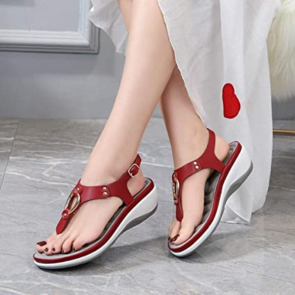 Kiminana Women Fashion Flip Flops Summer Retro Solid Slippers Summer Comfy Breathable Wedge Shoes Beach Clip Toe Shoes