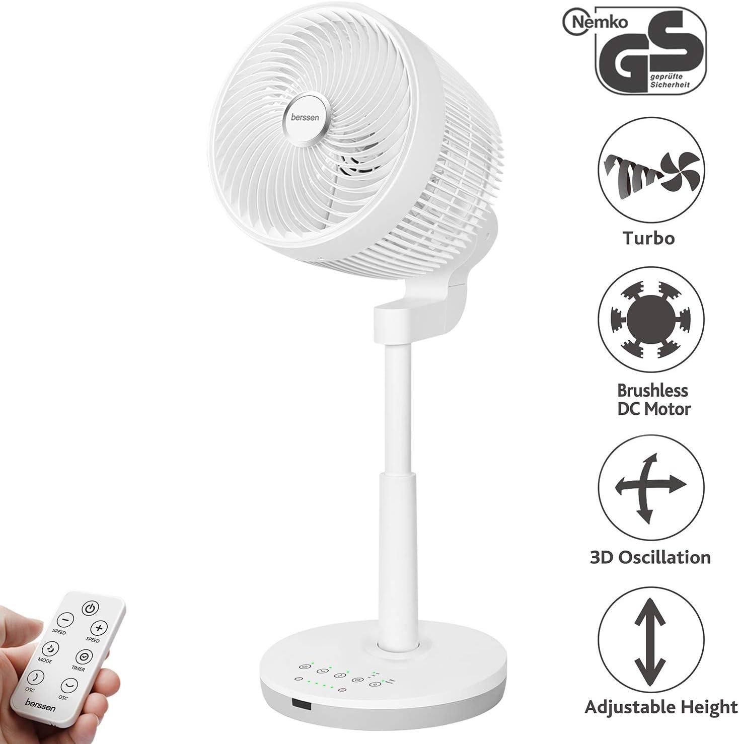berssen Ventilador Ventilador de Pie silenciosa con mando a distancia Turbo y tecnología DC Motor 30W