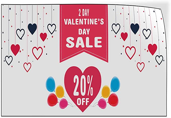 Custom Door Decals Vinyl Stickers Multiple Sizes Valentines Day Sale Percentage Off Blue Business Sale Outdoor Luggage /& Bumper Stickers for Cars Blue 58X38Inches Set of 2