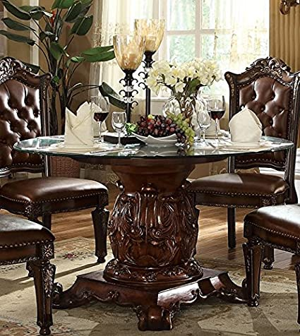Amazon Com Acme Vendome Cherry Dining Table With Pedestal Kitchen