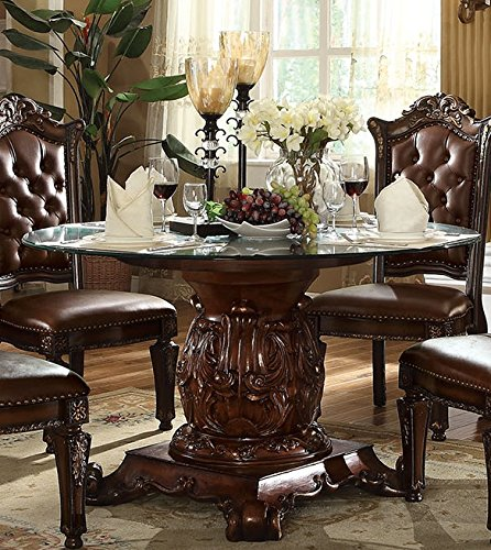 ACME Vendome Cherry Dining Table with Pedestal (Pedestals Glass Table For)