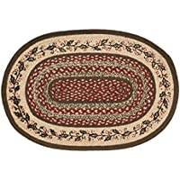 VHC Brands Christmas Holiday Flooring - Holly Berry Jute Red Stenciled Oval Rug