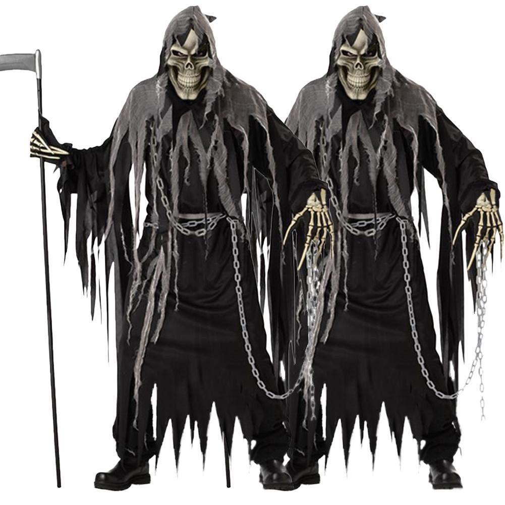 Hommes Femmes Costume dhalloween Grim Reaper Robe de Mort Carnaval Zombie Skull Cosplay Diable Mort Costume De D/éguisement Terroriste Homme Costume Gentleman Masquerade Adulte Set Gris