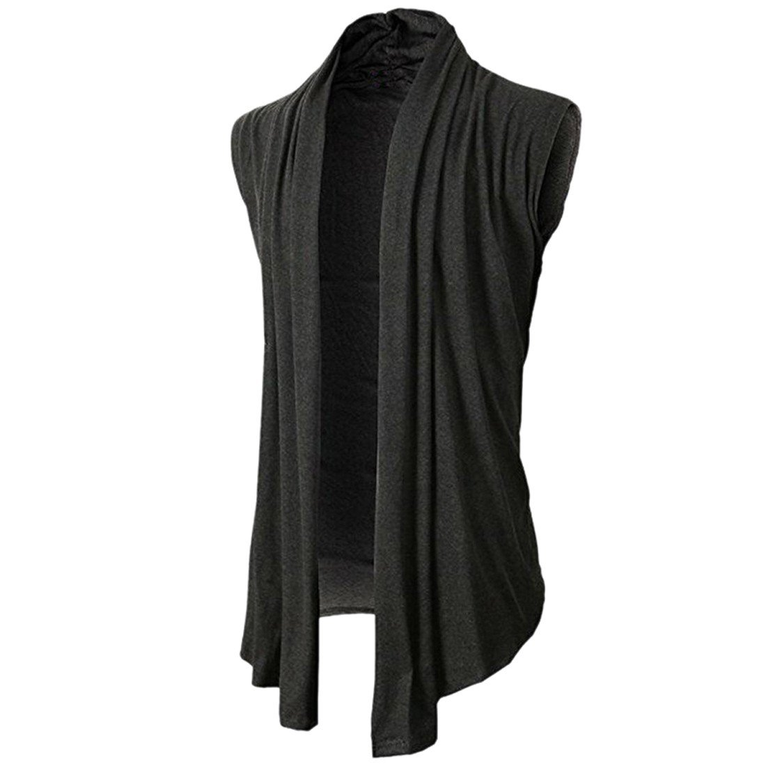 Ai.Moichien Men's Summer Ruffle Shawl Sleeveless Cardigan Lightweight Cotton Long Length Drape Cape Vest E6051S3663/2TWO