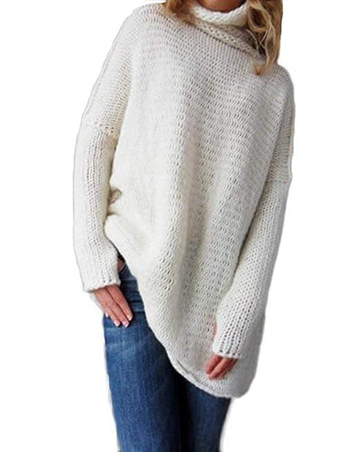 46bdf681b69f Jersey Cuello Alto Mujer Otoño Invierno Termica Suéter De Punto Manga Larga  High Collar Anchas Casuales Moda Clásico Elegantes Color Sólido Pullover  Sweater ...