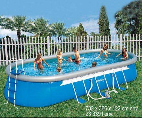 Piscina bestway oval fast set pool 7,32 x 3,66 x 1,22m 56127: Amazon.es: Jardín