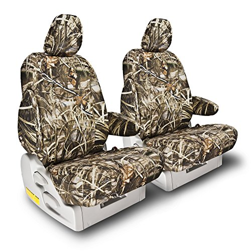 Front Seats: ShearComfort Custom Realtree Camo Seat Covers for Chevy Silverado (2007-2009) in MAX 4 Waterfowl for Buckets w/Adjustable Headrests