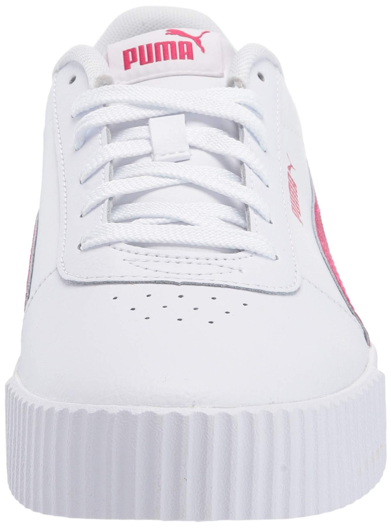 PUMA Women's Carina Sneaker, Whitebright Rose-Bright Rose, 5.5 M US