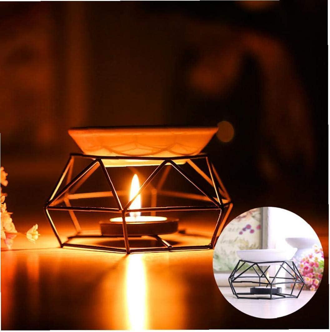 Huile Essentielle De Br/ûleur En M/étal Bougeoir G/éom/étrie Candlestick Bougie Aroma Diffuseur Tabletop