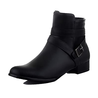Women's Low-Heels Solid Round Closed Toe Soft Leather Zipper Boots