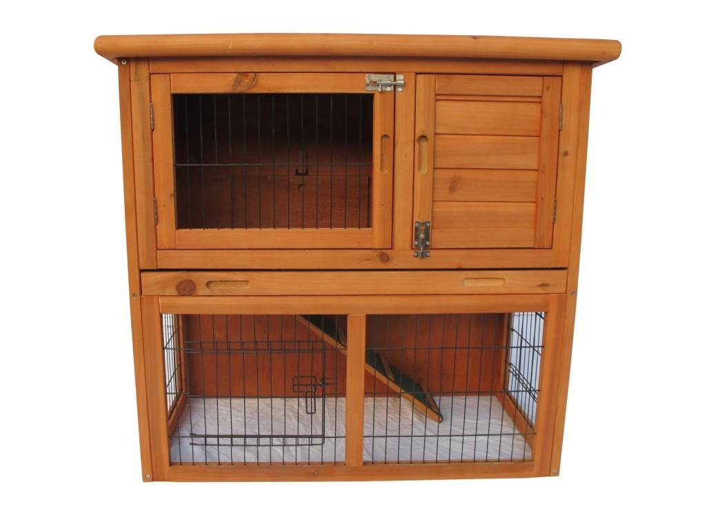 Ardinbir Deluxe 2 Storey Portable Solid Wood Guinea Pig Ferret Hutch House Cage, Water Resistant with Sloped Roof & TRAY