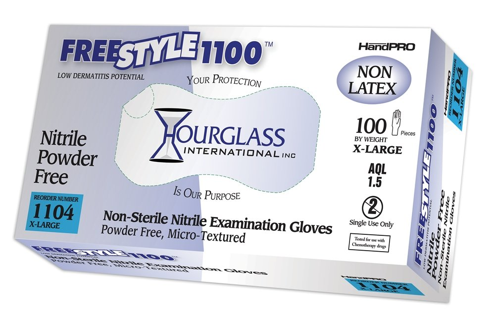 Hourglass HandPRO FreeStyle1100 Nitrile Glove, Exam, Powder Free, 240mm Length, 0.06mm Thick, X-Large (Case of 10 Boxes, 100/Box)