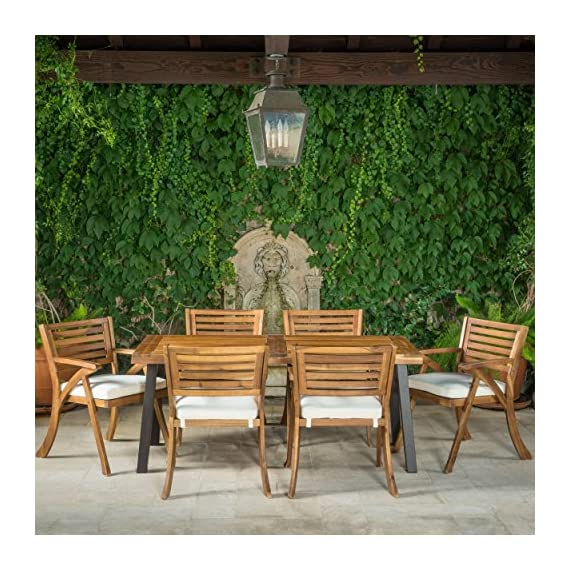 Christopher Knight Home 298198 DeSoto 7 Piece Patio Dining Set, Teak Finish with Rustic Metal + Teak Finish - Includes: One (1) Table and Six (6) Chairs Table Material: Acacia Wood. Chair Material: Acacia Non FSC Wood. Set Finish: Teak Finish. Table Leg Finish: Rustic Metal. Assembly Requited. - patio-furniture, dining-sets-patio-funiture, patio - 61GdwvnMI9L. SS570  -