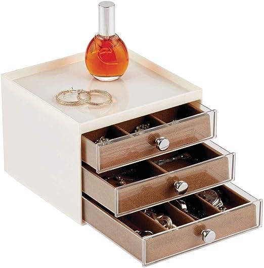 mDesign Organizador de joyas – Joyero organizador con tres cajones ...