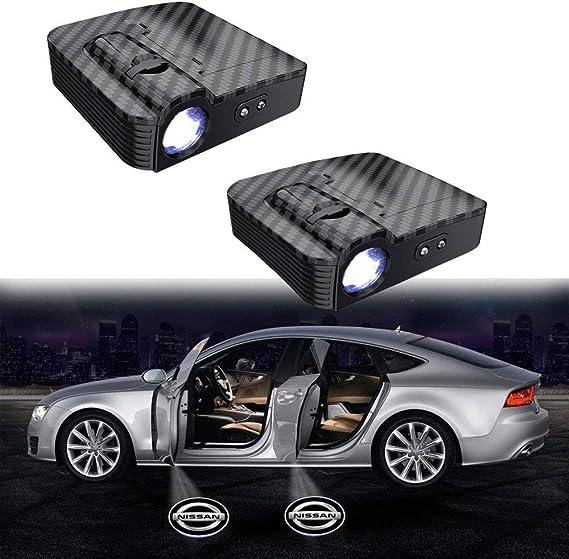 Image of MIVISO 2 piezas Puerta de coche Logo Led Proyector Luz Lámpara inalámbrica Bienvenido Ghost Shadow Light (actualizado sin imán)