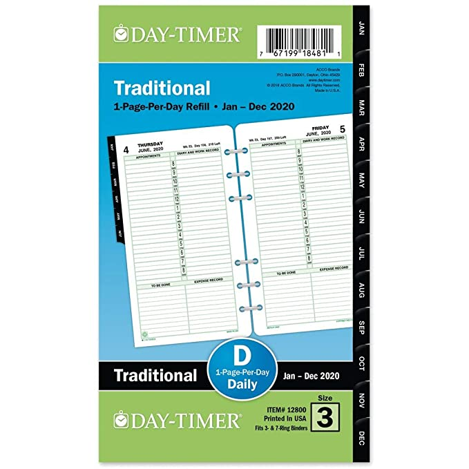 """Day-Timer 2020 Daily Planner Refill, One Page Per Day, 5-1/2"""" x 8-1/2"""