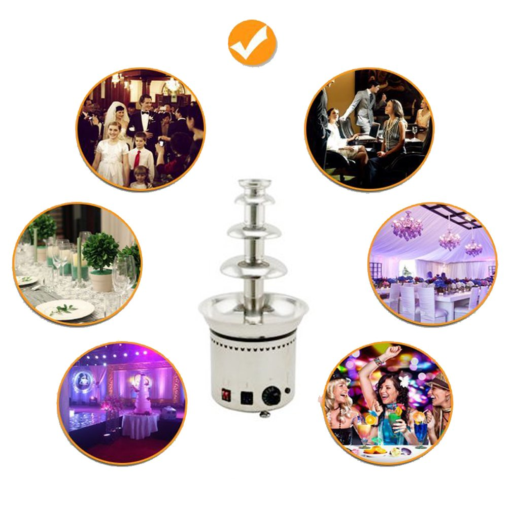 4-Tier Electric Chocolate Fondue Fountain ixaer Stainless Steel Chocolate Fondue Fountain with LARGE Capacity Automatic Temperature Control for Big Party Wedding Hotel(Capacity:6.6LB)