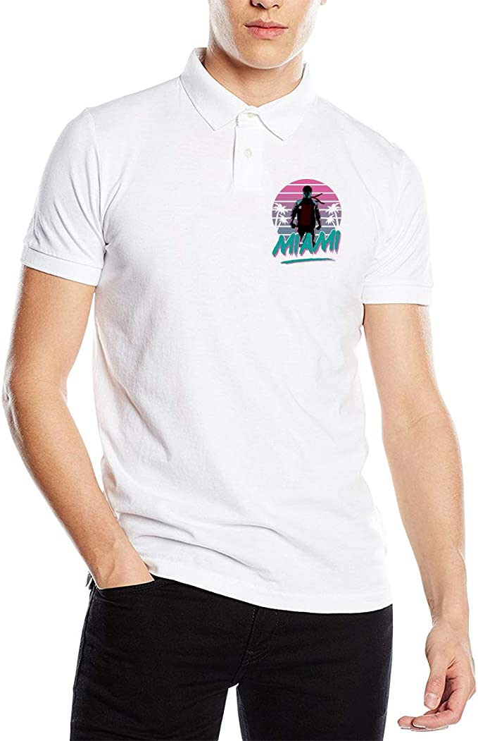 Lesidoit Welcome TO Miami Mens Slim-Fit Quick-Dry Golf Polo Shirt ...