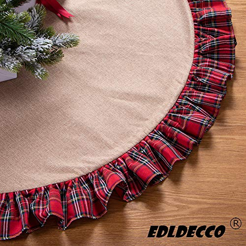EDLDECCO 48 inch Christmas Tree Skirt Pastoral Style Plaid Black Buffalo Check Ruffle Edge Burlap Tree Skirt a Fine Decoration Gift for Home and Holiday Party from EDLDECCO