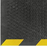 Andersen 546 Safety Scrape Nitrile Rubber Entrance Indoor/Outdoor Floor Mat with Striped Yellow Border, 10' Length x 3' Width, 1/8'' Thick by The Andersen Company