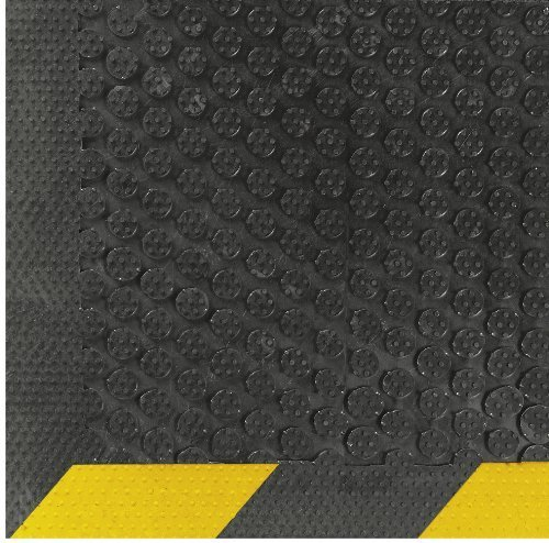 Scrape Entrance (Andersen 546 Safety Scrape Nitrile Rubber Entrance Indoor/Outdoor Floor Mat with Striped Yellow Border, 10' Length x 3' Width, 1/8