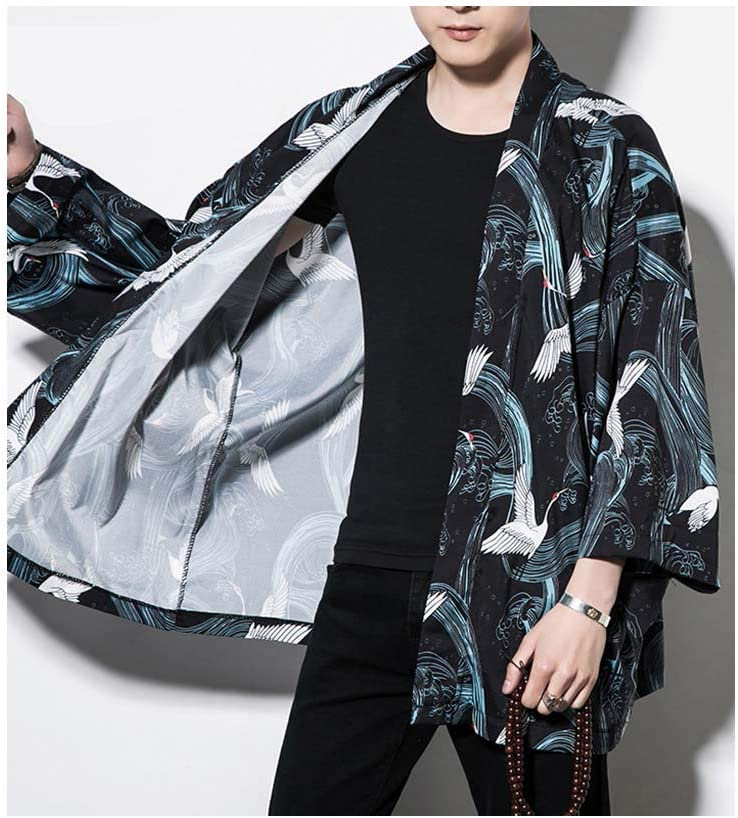 HOTSTREE Kimono Cardigan Men Crane Printed Long Black Kimono ...