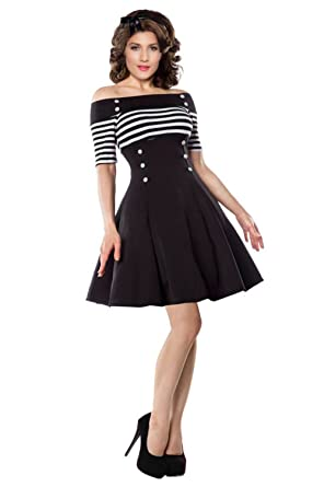 09b33618829bf Retro Cocktail Dresses For Women - Sexy Off Shoulder 1950s Vintage Swing A  Line Short Sleeve Striped Dress at Amazon Women's Clothing store:
