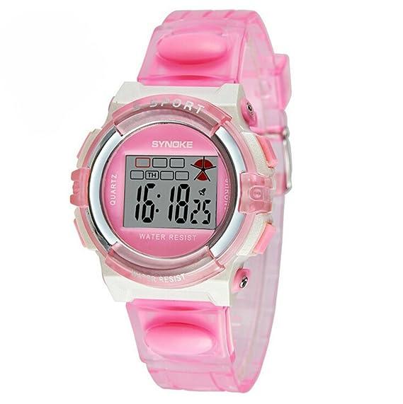 Impermeable Digital Outdoor Sports Watches para Edad 5 - 15 años de edad los niños niñas Kids Relojes rosa: Amazon.es: Relojes
