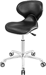 Ergonomic Rolling Chair Heavy Duty for Home Office Drafting,Adjustable Hydraulic Stool with Wheels (Black)
