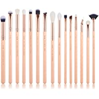 Jessup 15Pcs Eye Makeup Brushes Eyeshadow Brow Liner Eyeshadow Make-up Set Beauty Cosmetics Tools Kits 2018 New Peach Puff/Rose Gold T447 (peach puff)
