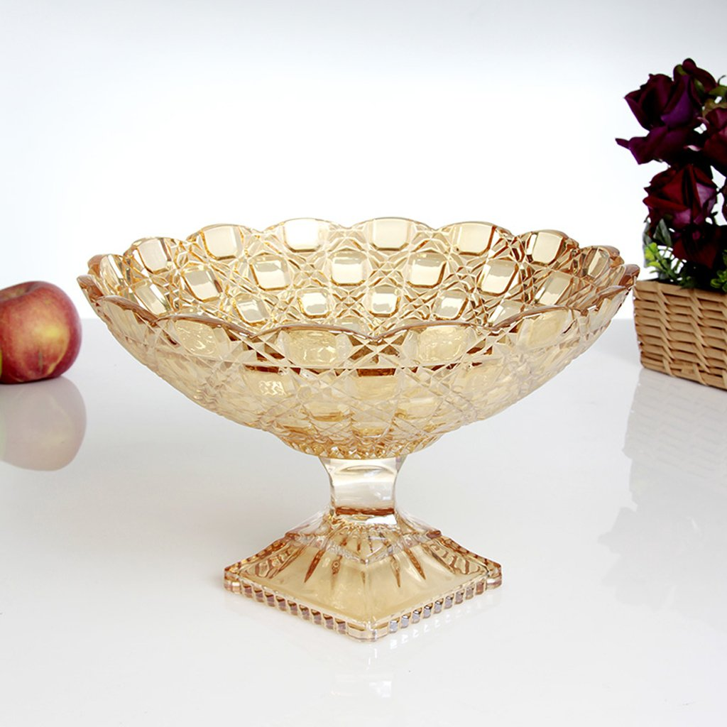 Creative High feet Gold glass fruit dish Modern styling fashion High capacity Dried fruit plate coffee table Home Decoration Candy plate Living room Decoration large MYHUS