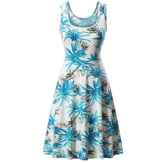Frauen Kleid Damen Strand Sommer Ärmellos Eine Linie Rundhalsausschnitt