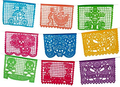 Paper Full of Wishes Medium Plastic Day of The Dead Papel Picado Banner - Un Dia de Memoria - Decorations for Dia De Los -