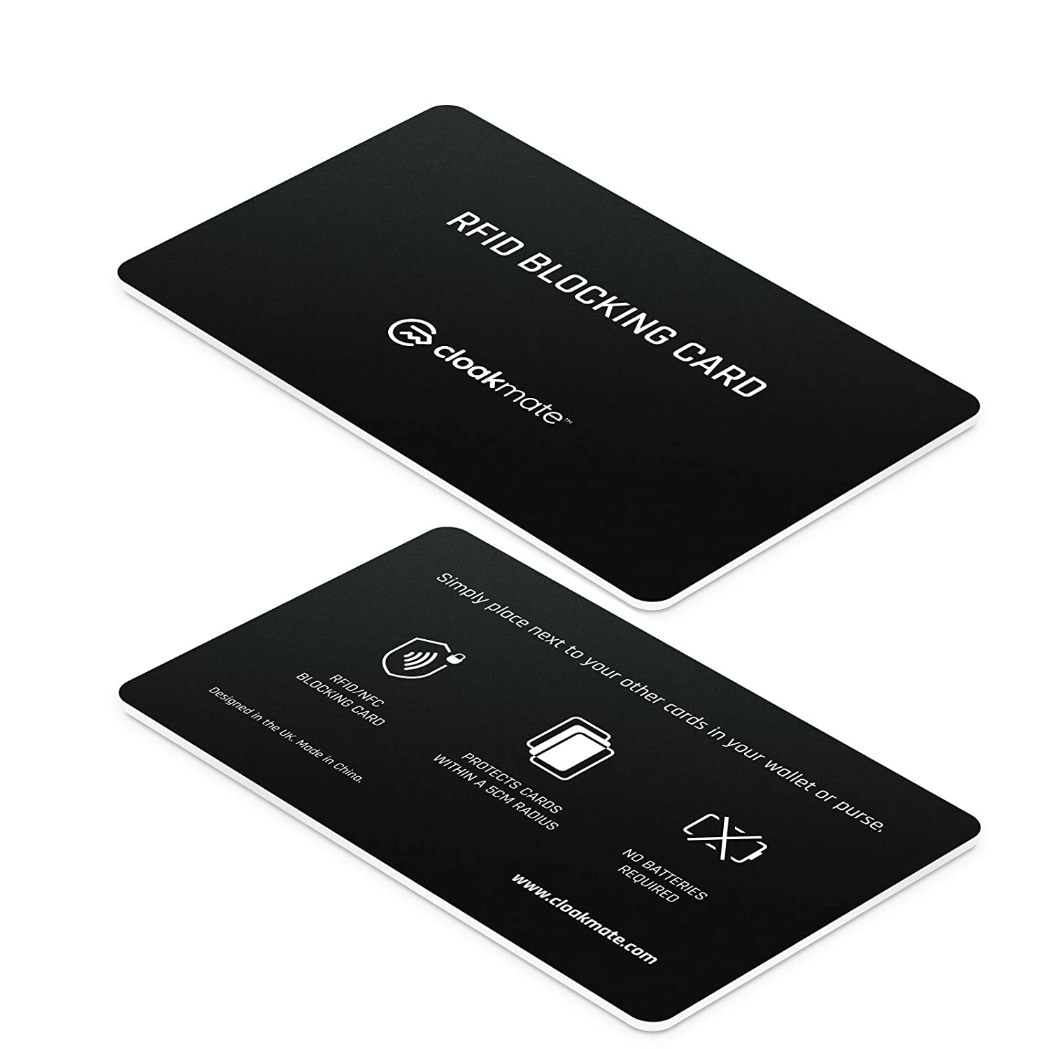 2 x RFID/NFC Blocking Card by Cloakmate | Contactless Protection for Entire Wallet | Credit & Debit Card Protector | No Batteries Required - Double Pack