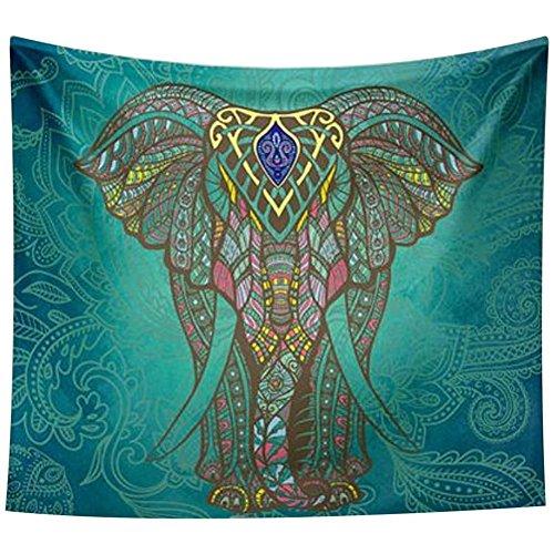 Art Deco Elephant (WAYLONGPLUS Elephant Print Wall Hanging Tapestry Bohemian Room Decor Bedding Rug 59