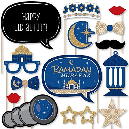 Big Dot of Happiness Ramadan - Eid Mubarak Photo Booth Props Kit - 20 Count