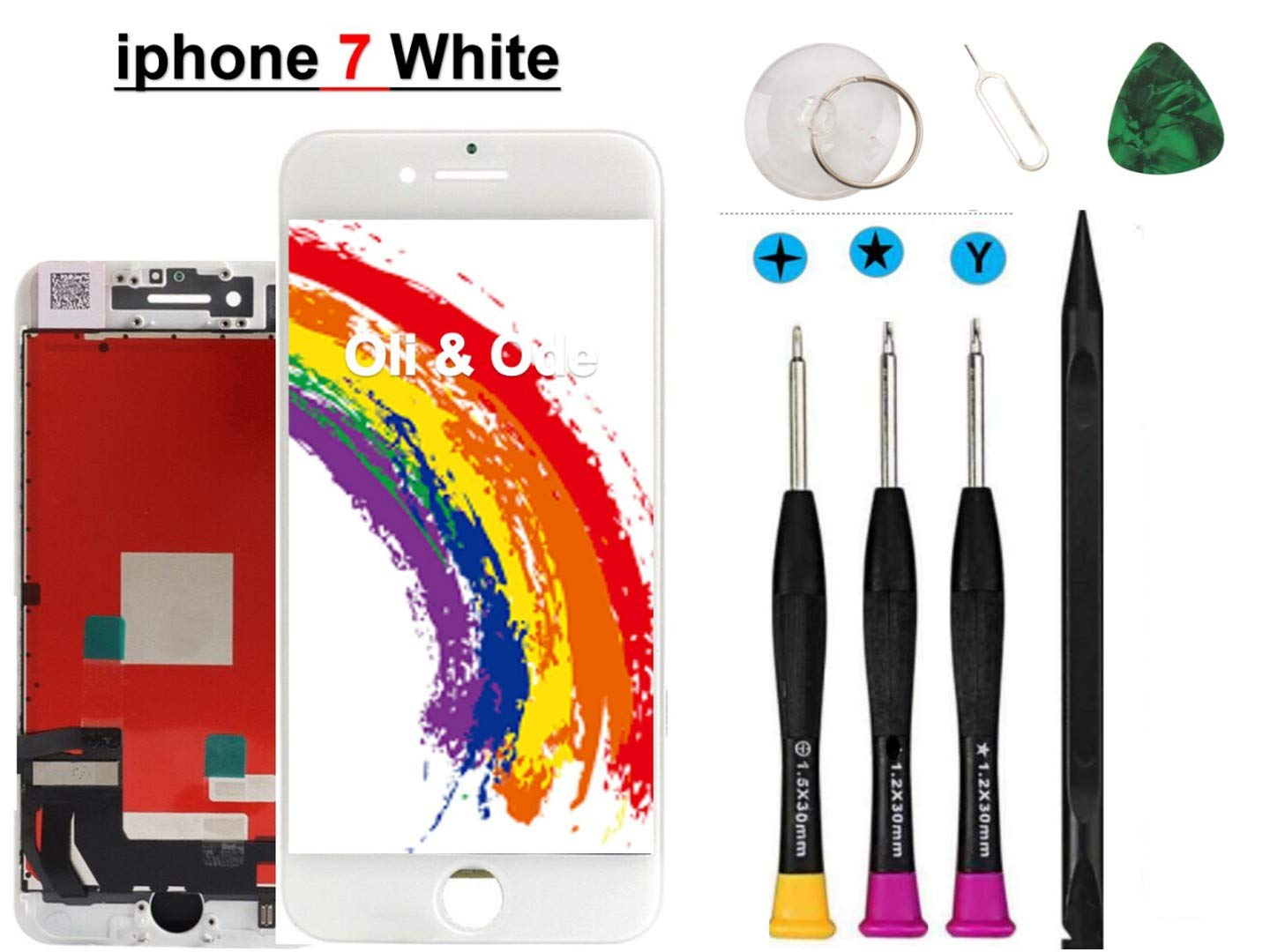 Oli & Ode Compatible with iPhone 7 Screen Replacement,(4.7 Inch White) LCD Digitizer Touch Screen Assembly Set with 3D Touch, Repair Tools and Professional Replacement Manual Include (White)