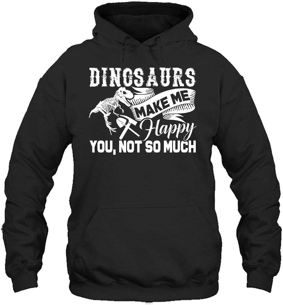 Two Camel Paleontologist Long Sleeve Hoodies Dinosaurs Make Me Happy Unisex Hoodie
