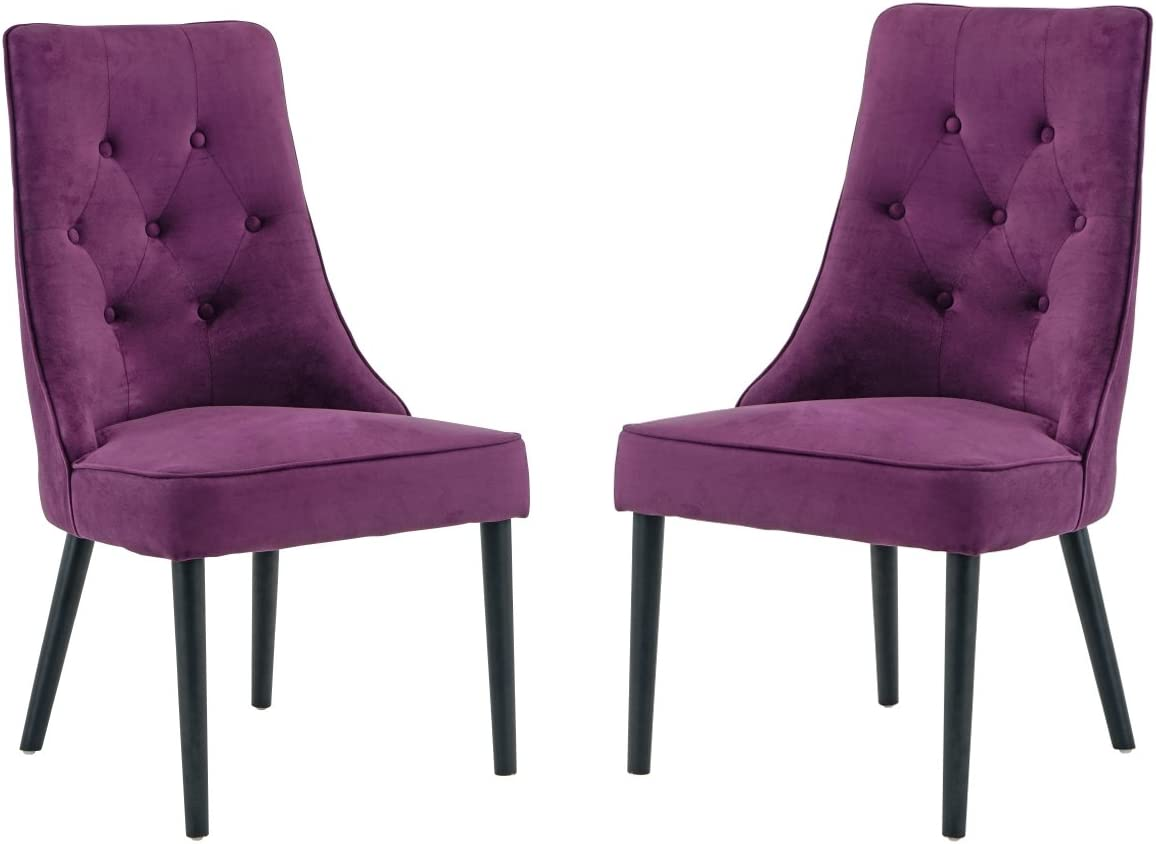 Classic 2 Piece Tufted Button Brush Microfiber Dining Chair Purple