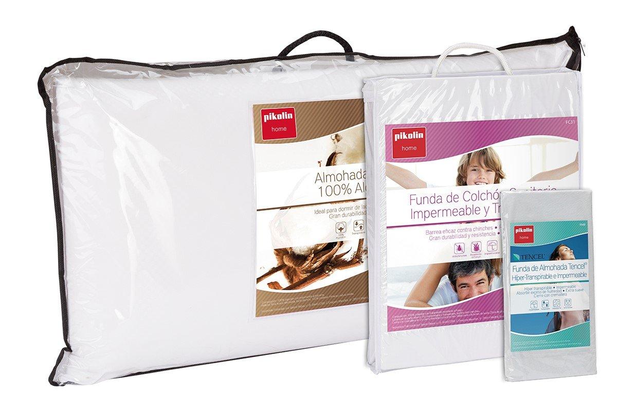 Set de descanso Pikolin Home para cama 200 - Funda de colchón impermeable y transpirable (200 x 190/200 cm), dos almohadas de fibra antiácaros (40 x 90 cm) ...