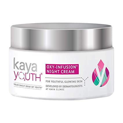 Kaya Youth Oxy-Infusion Night Cream, Boosts Skin Oxygen, Replenishes skin moisture overnight, Gives youthful glowing skin, Developed by Dermatologists, 60 gm