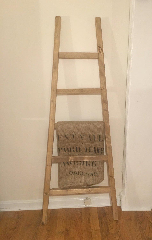 60 Distressed Blanket Ladder Rustic Ladder Custom Built Quilt Rack Pot Rack Leaning Ladder