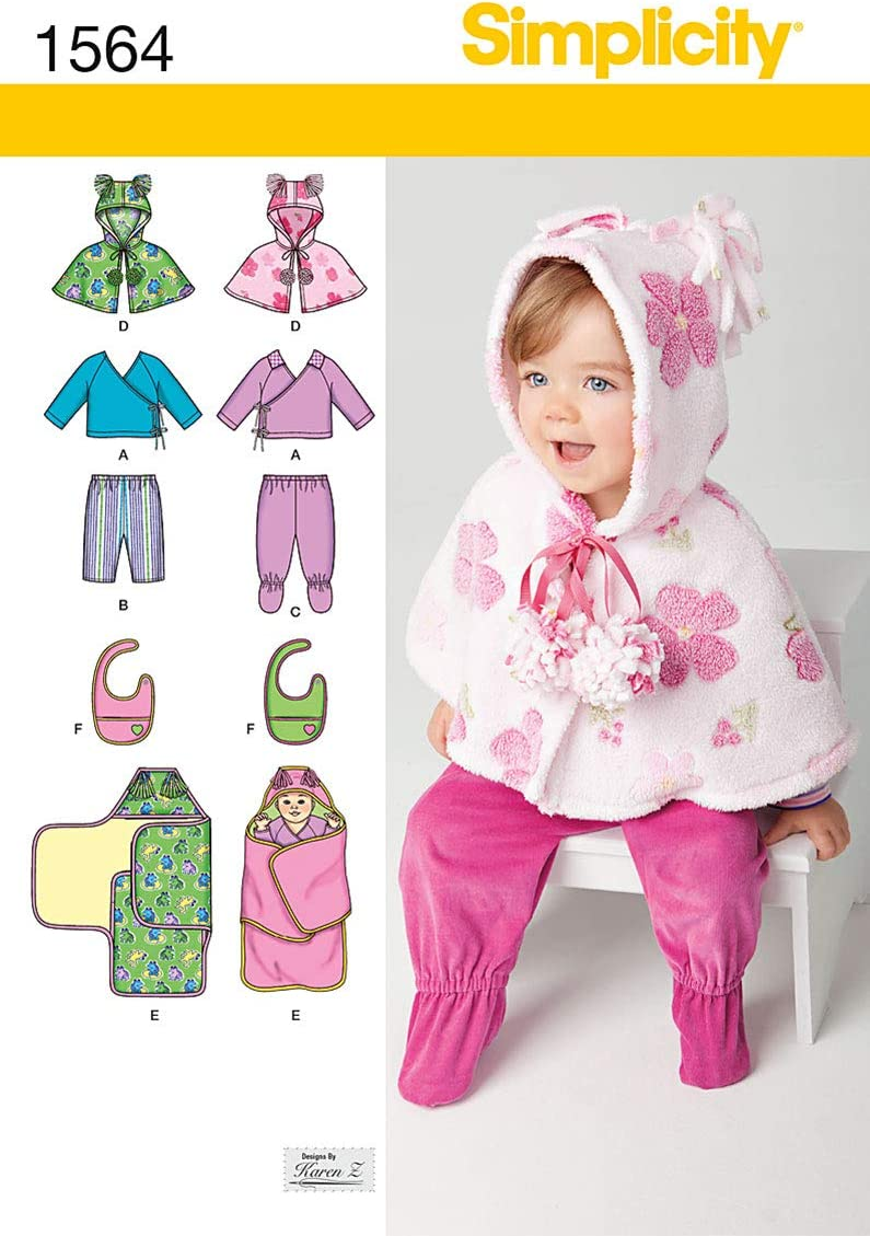 Simplicity 1564 Baby Clothes, Bib, and Blanket Sewing Patterns, Sizes XXS-L