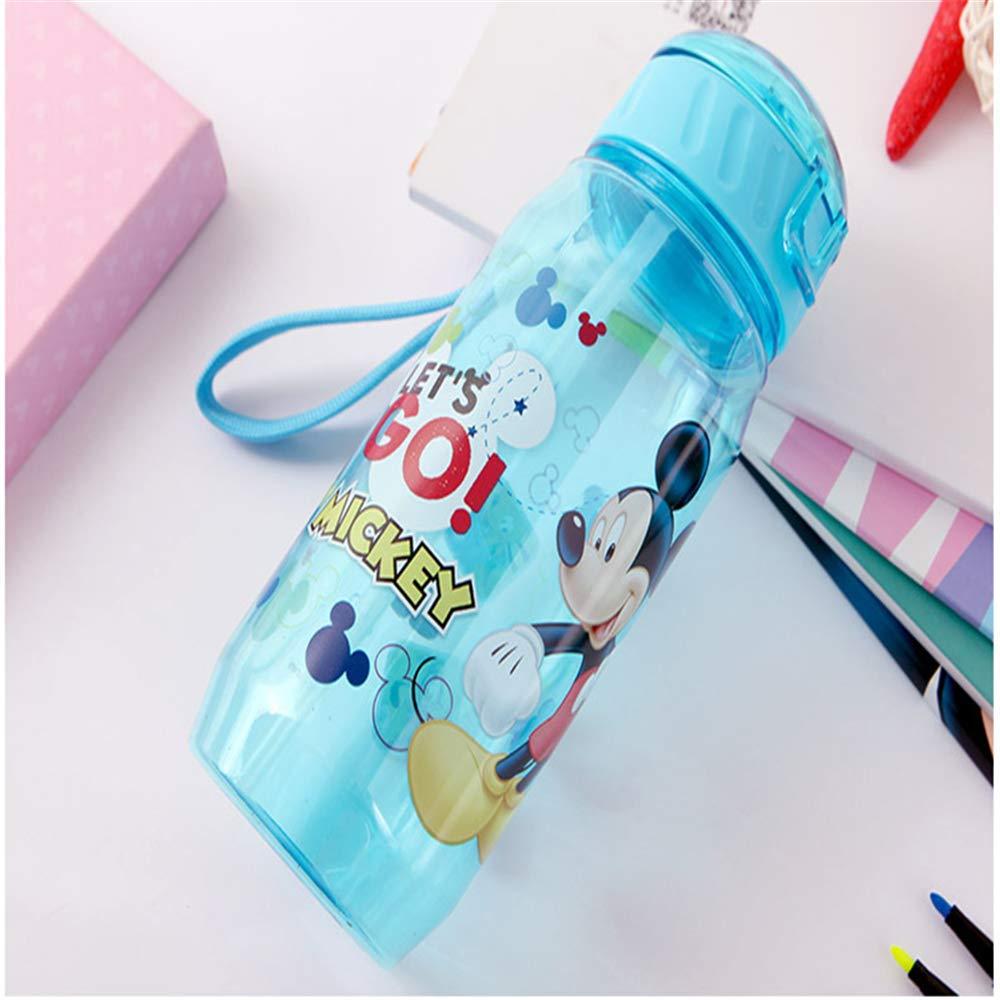 Zheng Yi KE Ji Azul Botella de Deporte port/átil ecol/ógica con Pajita de trit/án dise/ño de Dibujos Animados sin BPA sint/ético Botella de Agua para ni/ños 450 ml