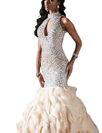 Amazon.com: Andybridal Mermaid High Neck Feather Rhinestone Sequin ...