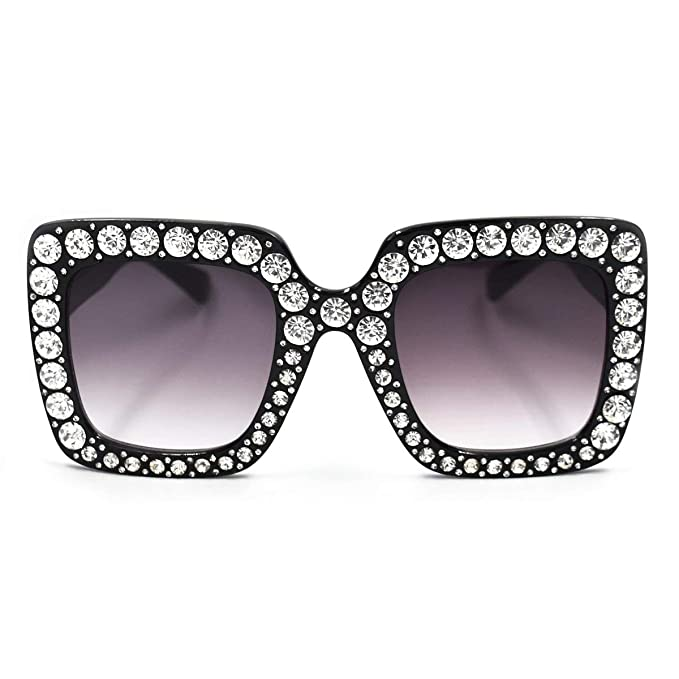 SamuRita Elton Square Diamond Rhinestone Sunglasses Novelty Oversized Celebrity Shades