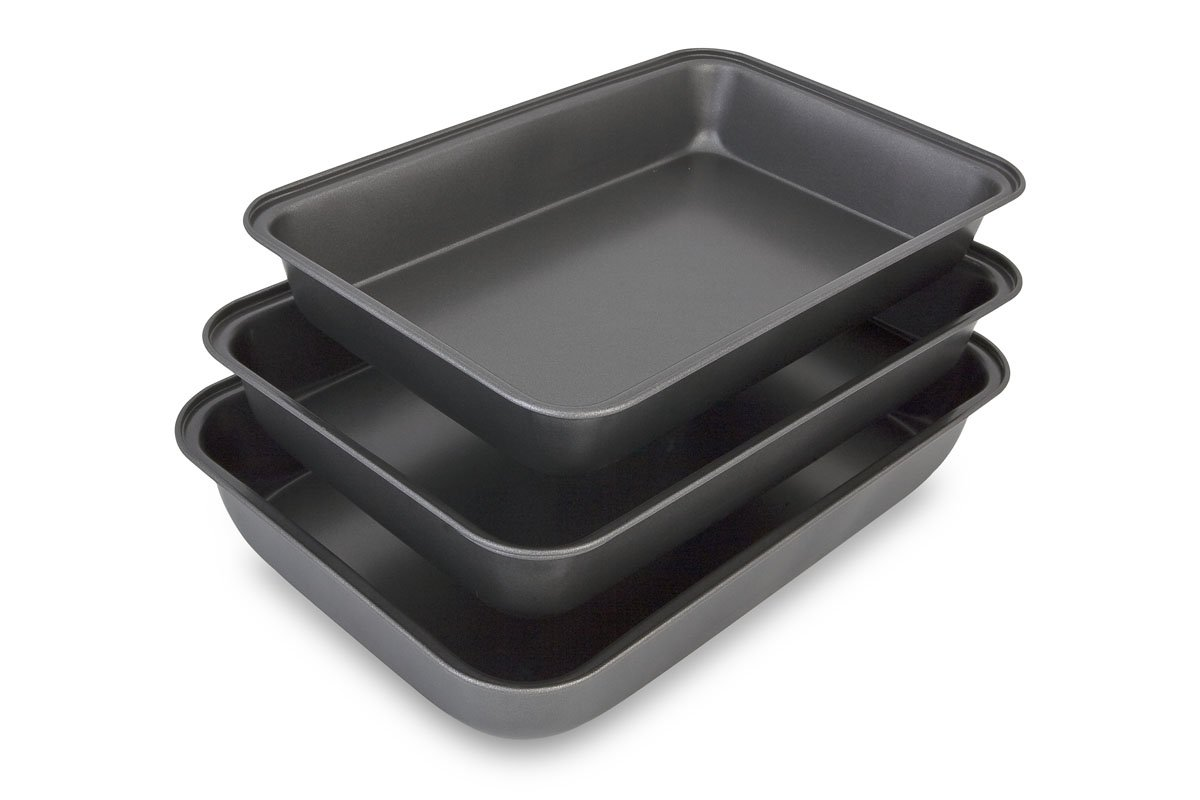 Abert - Non Stick Deep Roasting Oven Baking Tins Trays - Roasting Pan - 3 Piece Set - Made in Italy
