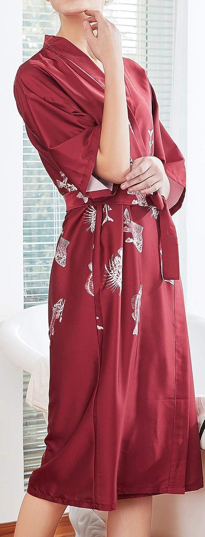 Chaos World Donna Kimono Vestaglia di Seta Pigiama Lungo a Manicotto 1//2 Camicie da Notte Accappatoio Rosso Damigella dOnore