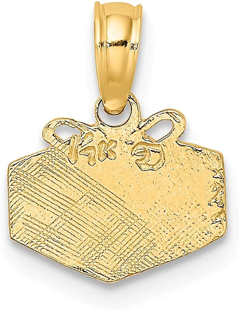 Yasmins Collection 14K Yellow Gold Wrapped Gift Box Engraved and Flat Pendant 0.47 x 0.4 inches