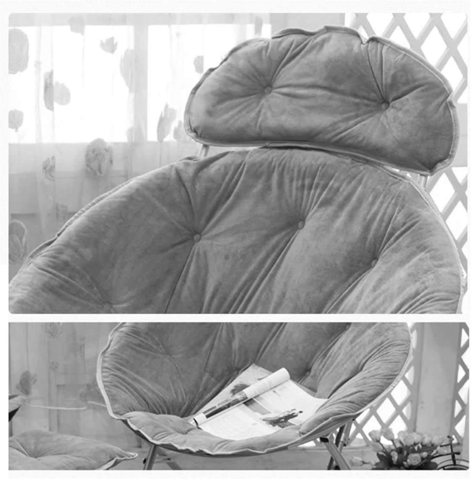 AJH Chair Folding Adult Moon, Lunch Break Lazy Couch, Sun Lounger, Round Recliner Back,Load Bearing 100kg Khaki